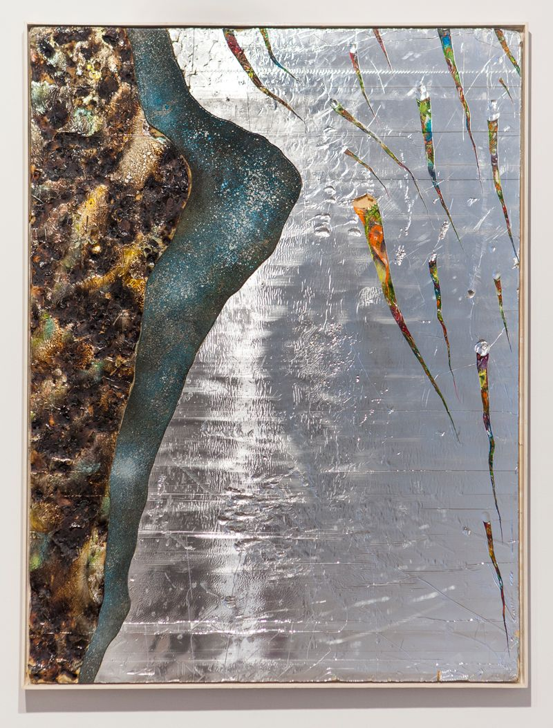 Deep Time 2015 : Davide Zucco Are you shivering? Are you cold? Are you bathed in silver or drowned in gold?, 2014, oil paint, acrylic, spray paint, burns, wood, steel on silver faced foam panel, 48x36 inches
