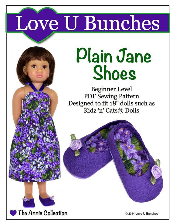 pixie faire love u bunches plain jane shoes doll clothes pattern for