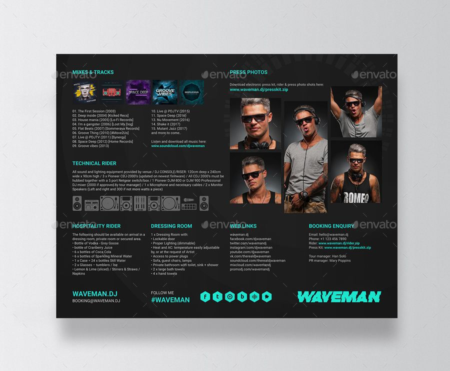 Wave Dj Press Kit Dj Resume Dj Rider Psd Template Press Kit Psd Templates Resume