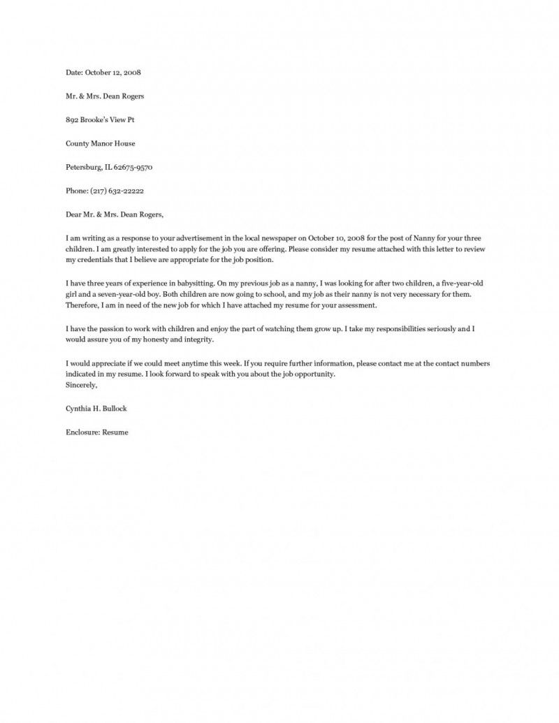 Nanny Cover Letter Example My Pins Pinterest Cover Letter