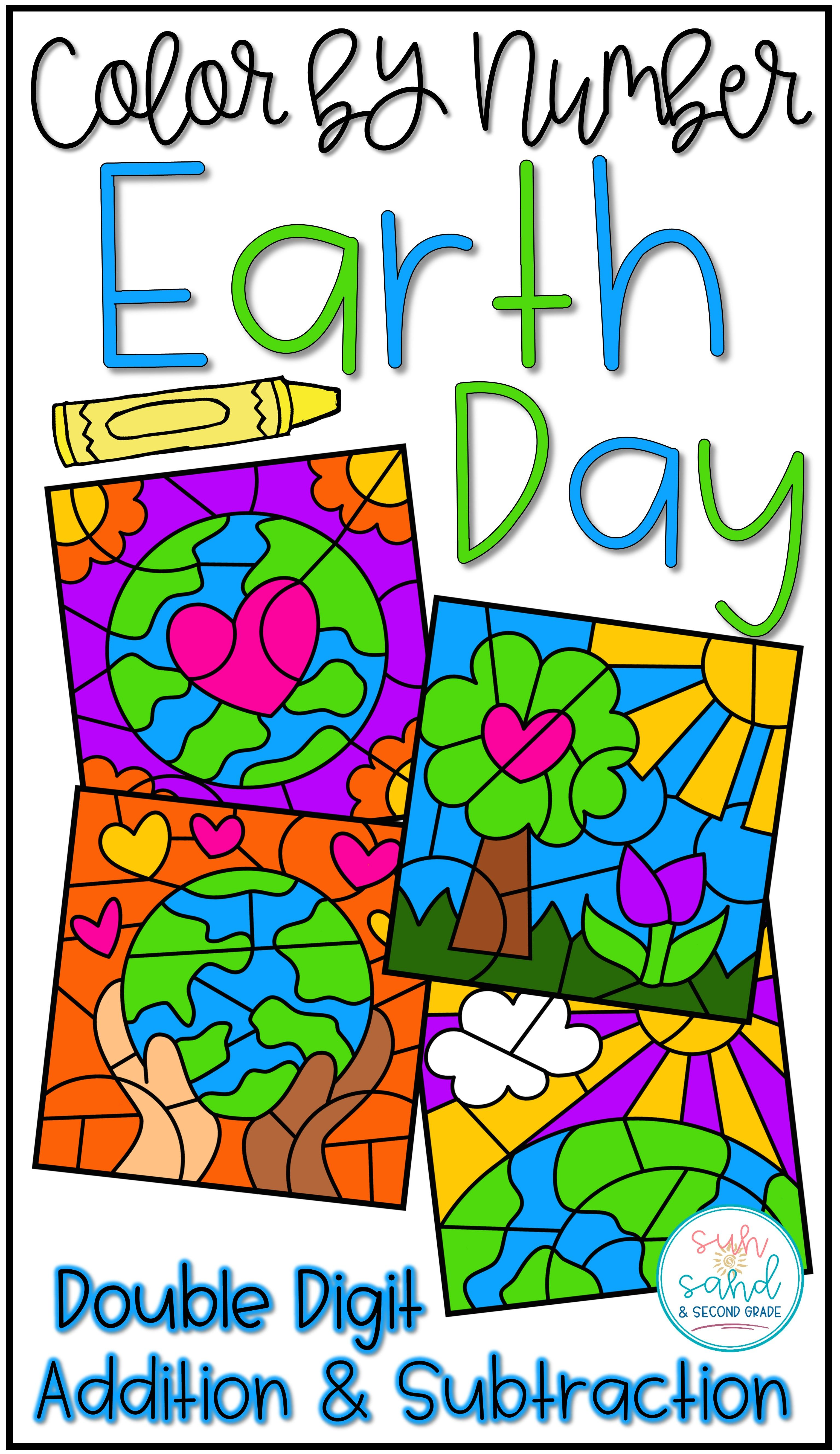 Earth Day Math Color By Code Pictures Double Digit Addition Amp Subtraction