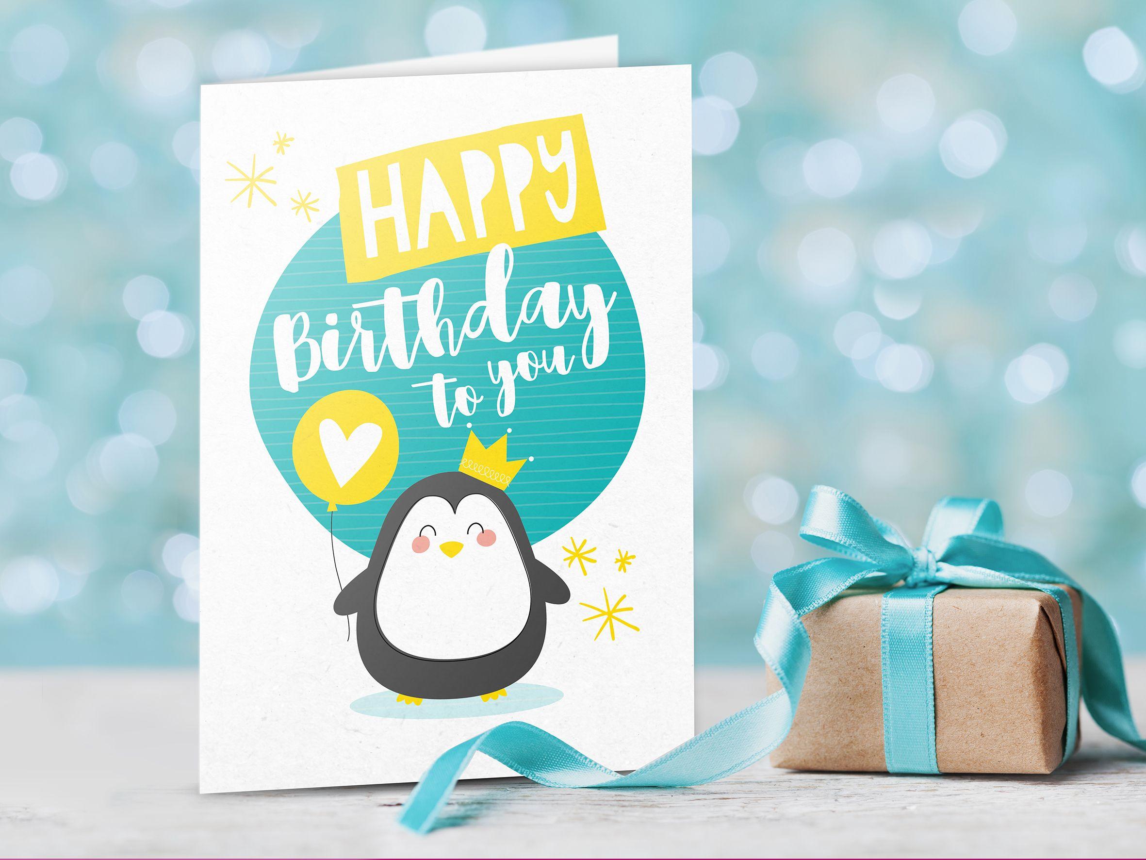 Biglietto Dauguri Digitale Happy Birthday Pinguino Un Simpatico