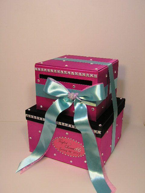 Sweet 16wedding Card Box Hot Pink Gift Card Box Money Box Holder