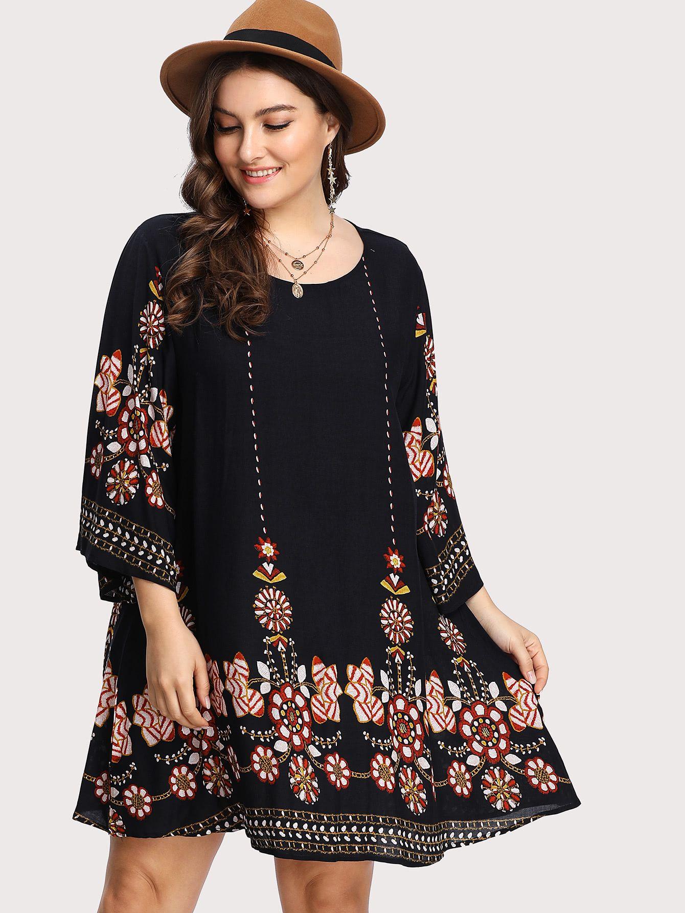 tunika kleid mit blumenmuster - german shein(sheinside