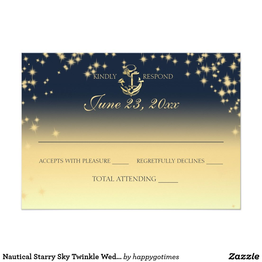 Nautical Starry Sky Twinkle Wedding Response Card Wedding Response