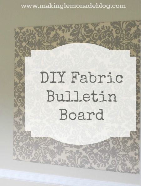 DIY Home Office Bulletin Board from a huge piece of foam insulation board. Attach the fabric to the back, using large pieces of clear packing tape (or duct tape or flat thumbtacks.  whatever floats your boat).  Cut to size?  But then need to get it home!