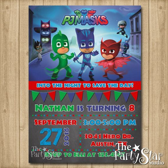 PJ Masks Invitation Birthday By ThePartyStarStudio