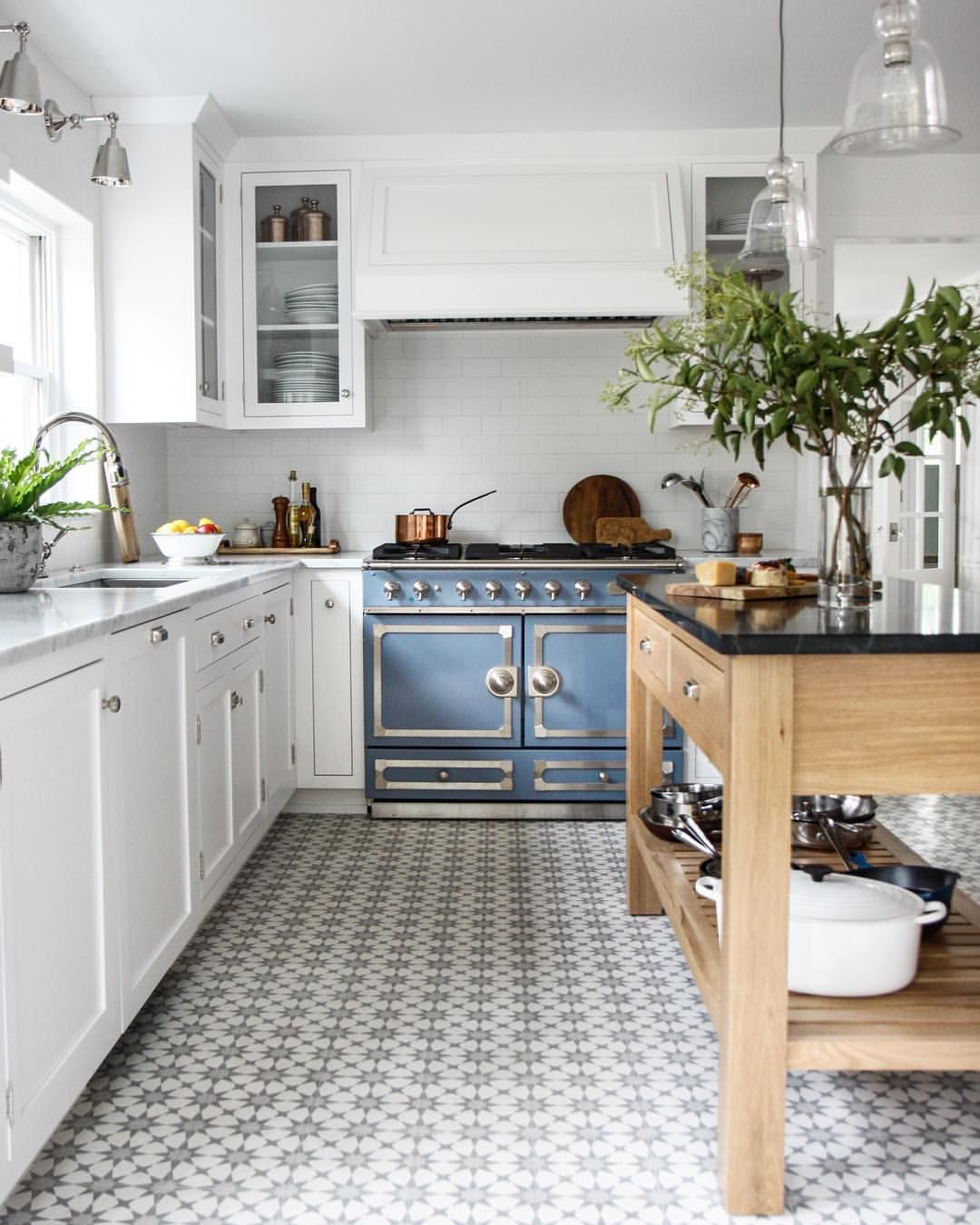White Kitchen French Blue Stove Patterned Tile Floor Kitchen