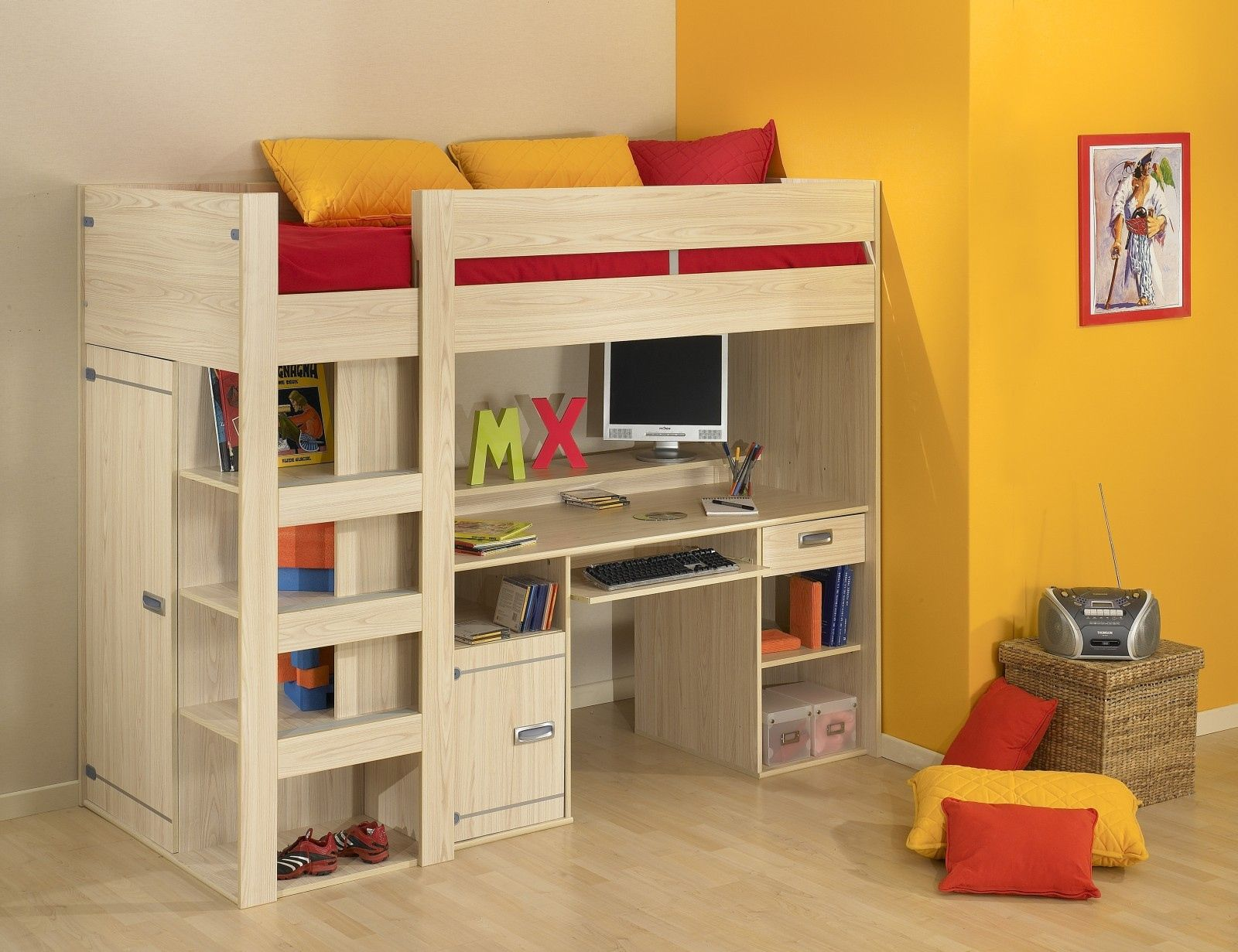 bunk theme single with design desk twin bed and loft very bedroom ideas kids funny storage