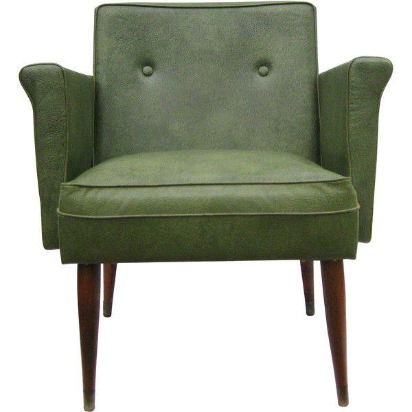 Green Accent Chair Wood Antique Diy: Vintage Fingerhut Green Vinyl Mid Century Modern Lounge