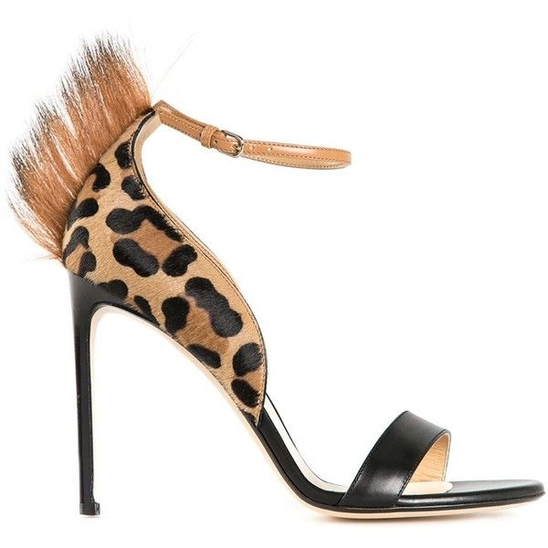Cool Womens Francesco Russo Fur Detail Leopard Print Sandals Special Sales