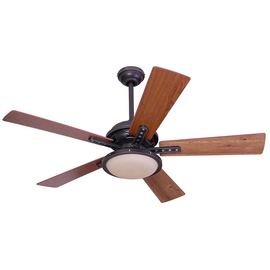 Harbor Breeze Lake Cypress 52 In Black Iron Downrod Or Close Mount Indoor Ceiling Fan With Light Kit And Remote