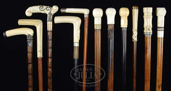COLLECTION OF ELEVEN CARVED WALKING STICKS. Second half 19th century - Sold $3,450