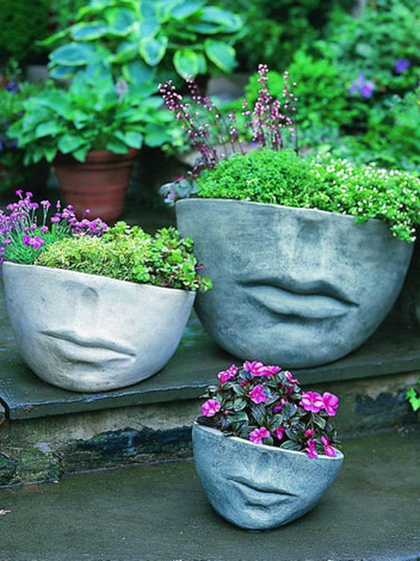 Faccia Face Planters Gardener S Supply Concrete Garden Face