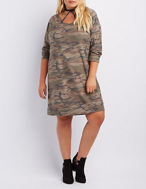 8283988da82e1 Plus Size Camo Sweatshirt Dress   Want   Camo sweatshirt, Sweatshirt ...