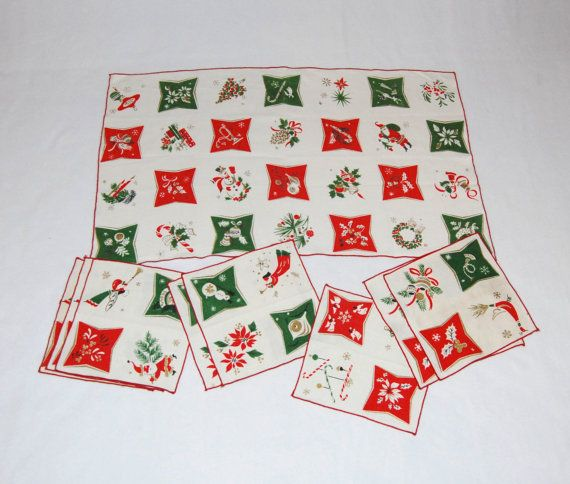 1960s Christmas table runner and napkins set by HappyCloudImports, $25.00