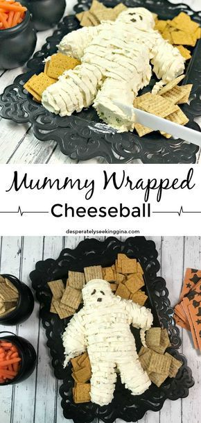 Yummy Mummy Cheeseball #halloweenfoodforparty Delight Halloween party guests with a delicious mummy wrapped cheeseball. #cheeseball #halloween #partyfood #halloweenappetizerideas