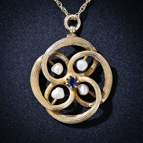 Antique Pearl and Sapphire Pendant