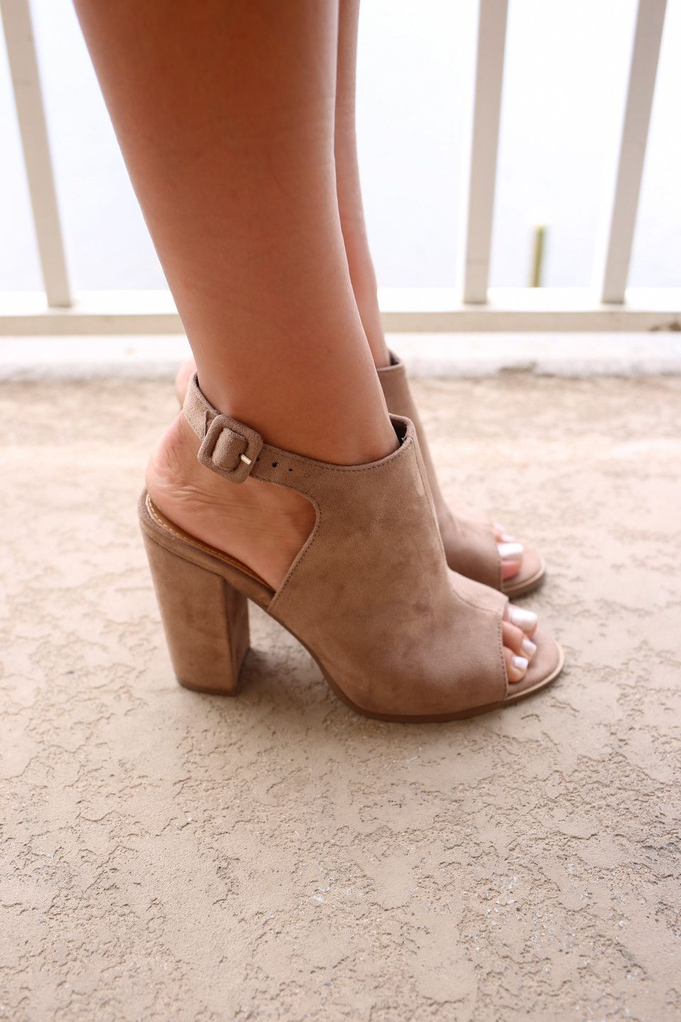 a1a78ce161b Cute faux suede block heels - Heel height is 4 inches - Has a chunky ...