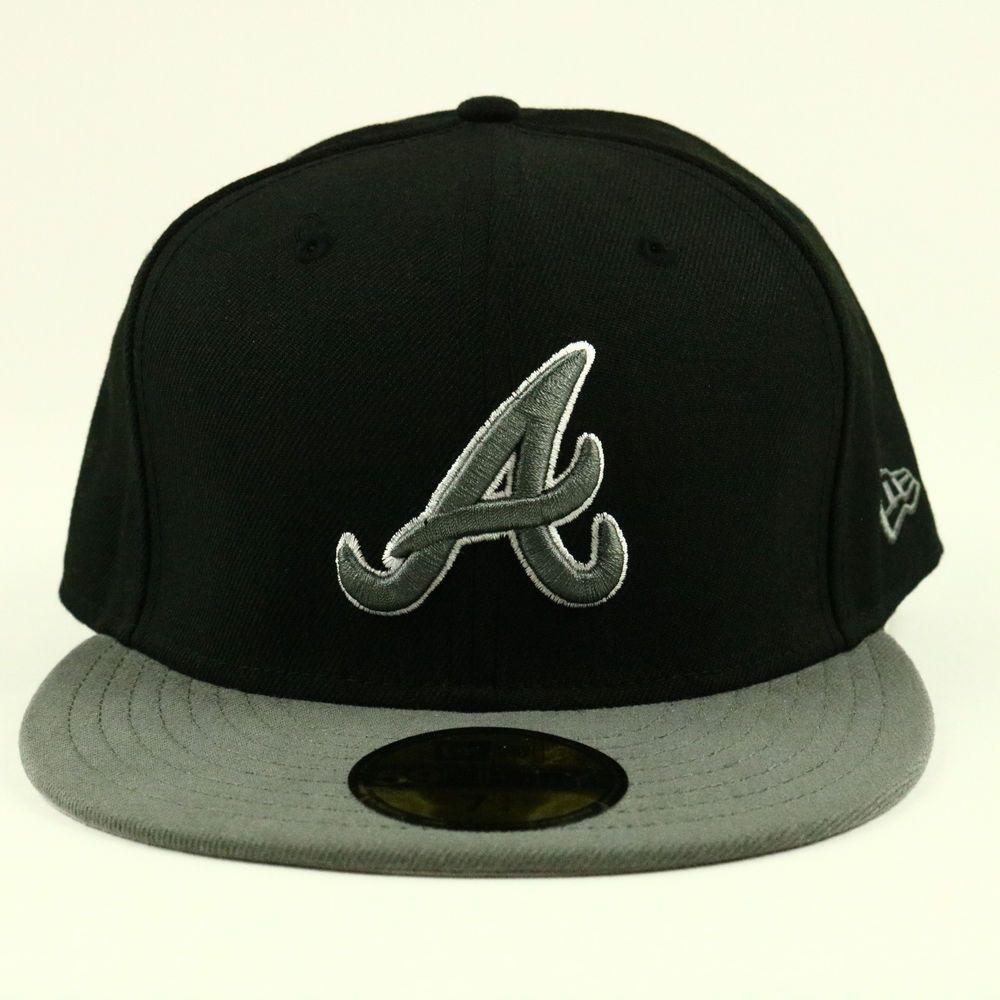 Atlanta Braves New Era 59fifty Hat 7 3 4 Cap Mlb Fitted Baseball Black Gray Logo Newera Atlantabraves New Era 59fifty Hats Atlanta Braves