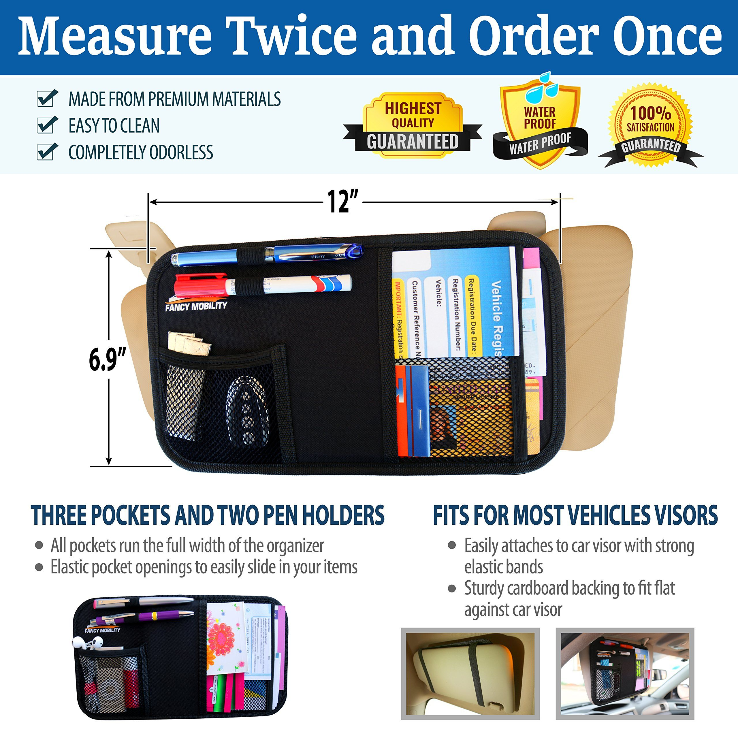 Car Sun Visor Organizer,Auto Interior Accessories Pocket,Registration and Insurance Holder,Registration and Document Storage Pouch for Car,Truck,SUV XL