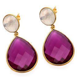 Moonstone/ Pink Tourmaline Bezel Earring