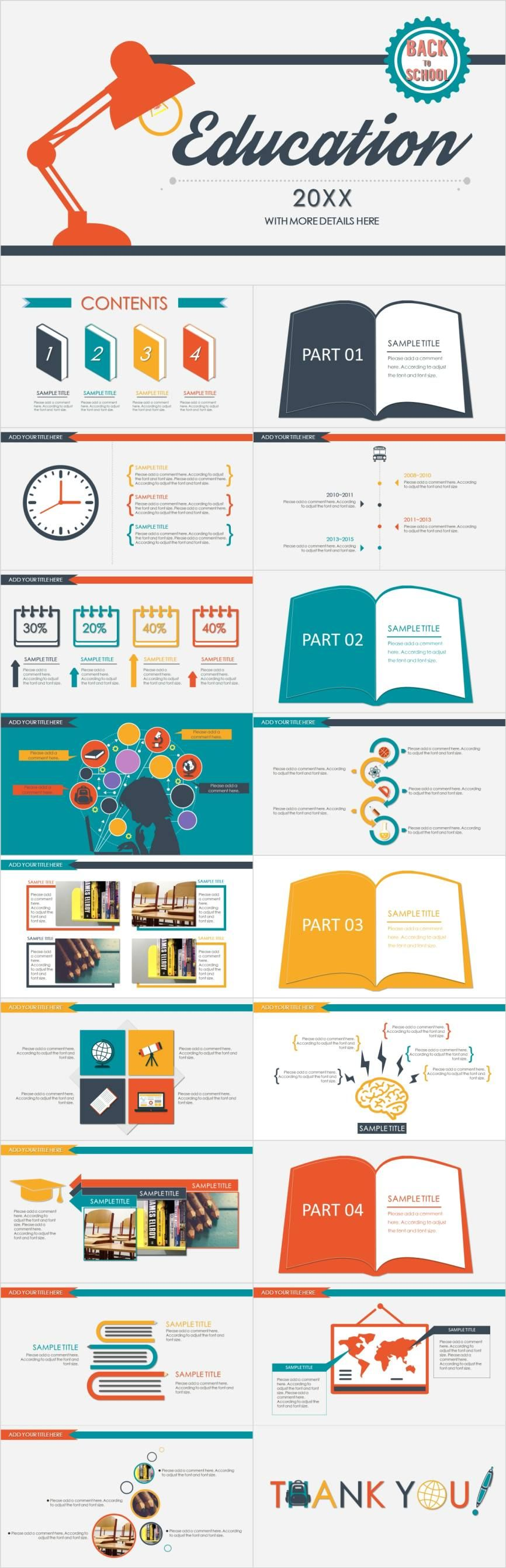 Useful education design PowerPoint template