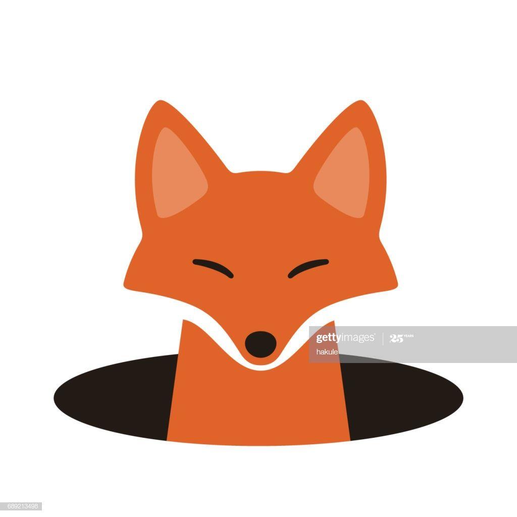 Red Fox On The Hole Watching Vector Illustration Animal Baby Room Fox Logo Illustration