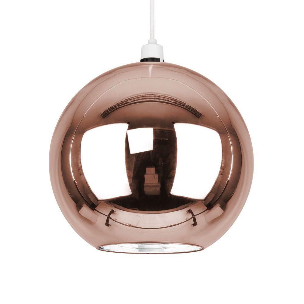 Modern Round Rose Gold Glass Ball Ceiling Pendant Light Lamp Shade