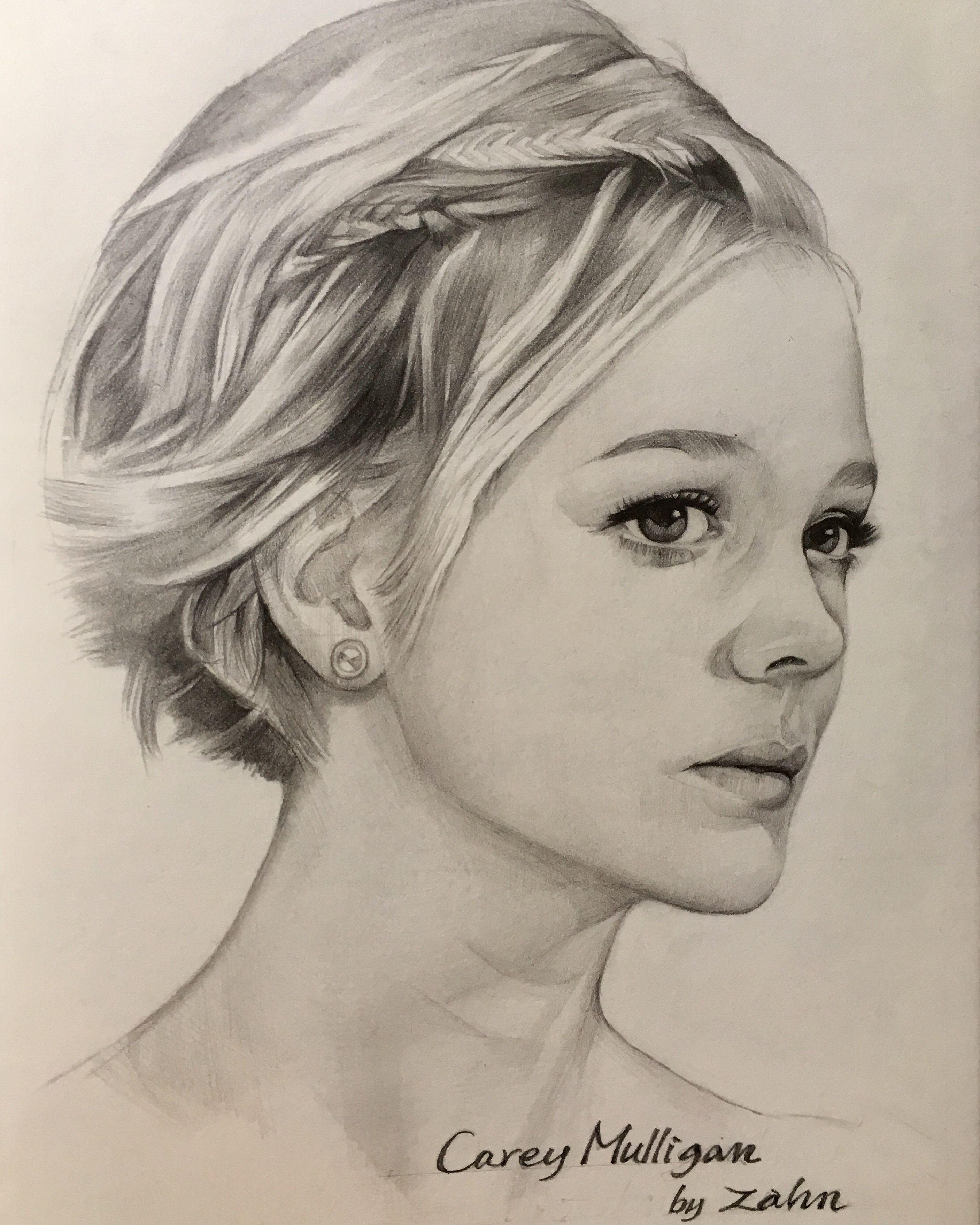 Carey Mulligan pencil drawing by zahn k Draw sketch