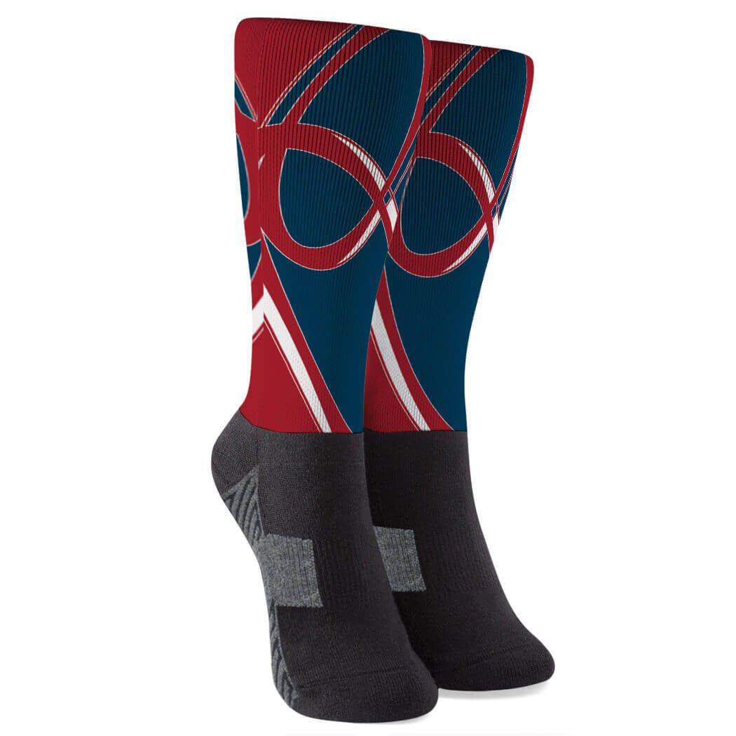 Rugby Quarter Length Socks Superior Red Navy Rugby Gift Idea Luxury Gifts For Her Calf Socks Clothes For Women
