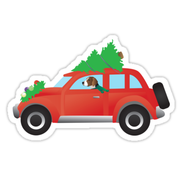 American foxhound driving red christmas car stickers by tripoddogdesign redbubble