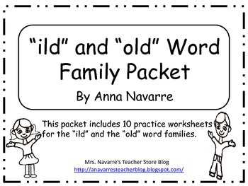 """""""ild"""" and """"old"""" Word Family Packet"""