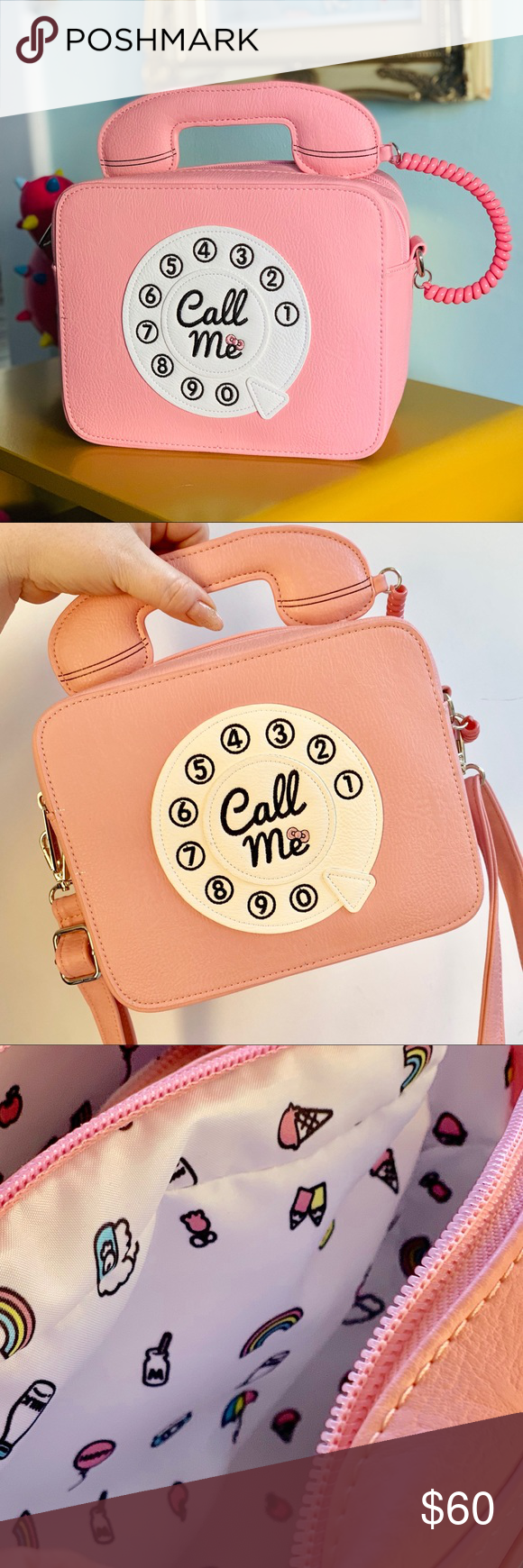 9f9c533d0e Hello Kitty Call me! Crossbody x Loungefly Hello Kitty phone crossbody bag  by Loungefly comes with dual zipper for double compartments.