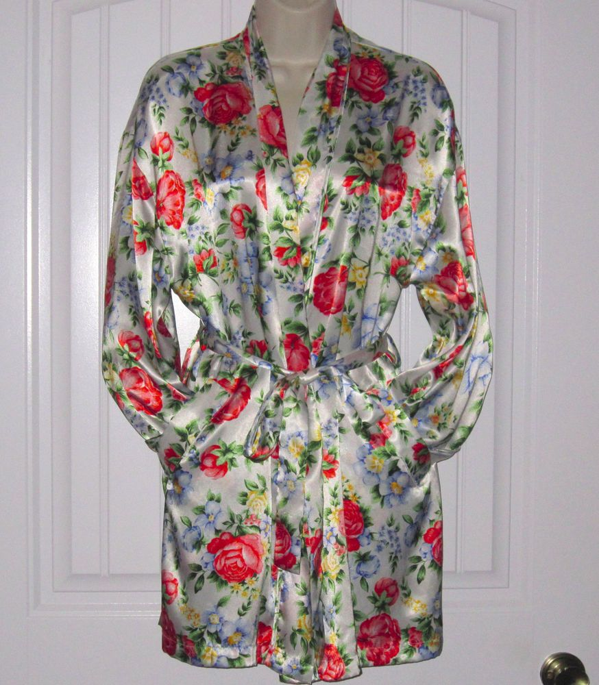 Best Victoria S Secret Satin Robe Red Blue Yellow Floral Rose 400 x 300