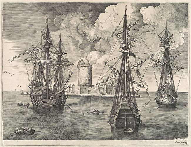 Four-Master and Two Three-Masters Anchored near a Fortified Island with a Lighthouse, ca. 1561–62 Frans Huys after Pieter Bruegel the Elder (Netherlandish, ca. 1525–1569) Engraving and etching; first state