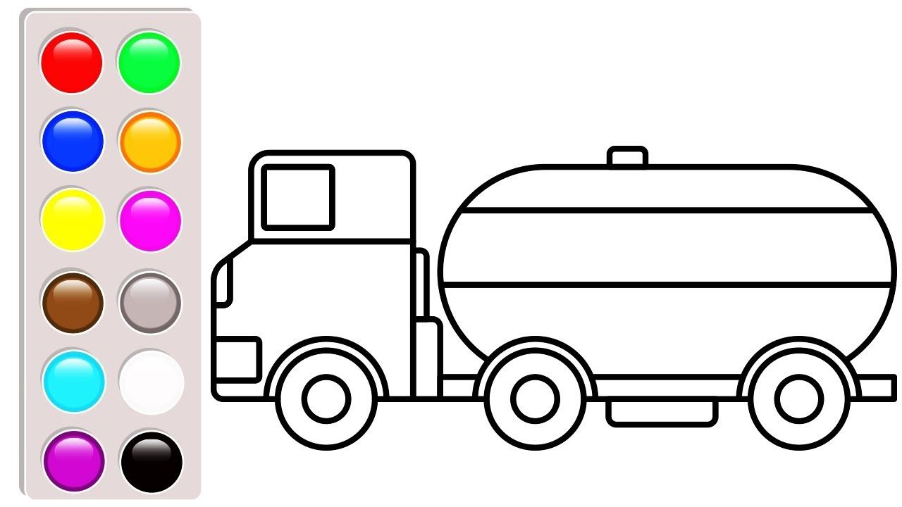 Water tank truck coloring pages, Car and truck coloring book video ...