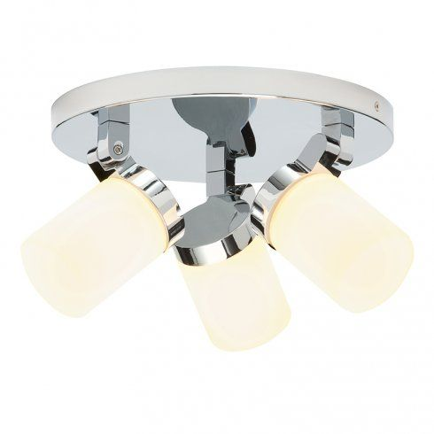 Endon lighting cosmo 3 light bathroom ceiling spot light fitting in polished chrome and opal glass