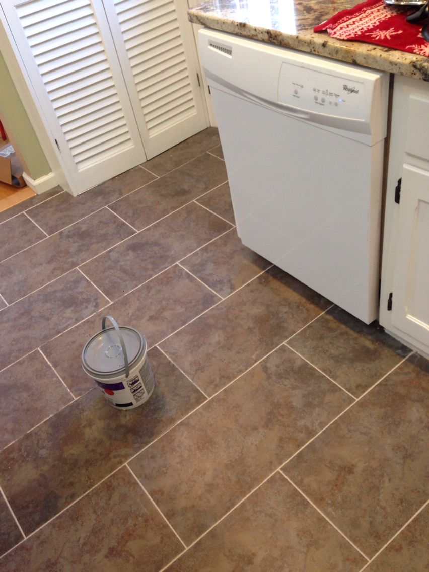 Vinyl Kitchen Floor Tiles New Flooring In Kitchen Trafficmaster Ceramica In Sagebrush This