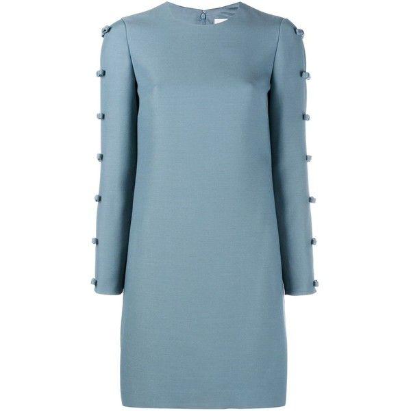 Valentino bow embellished dress (8.395 BRL) ❤ liked on Polyvore featuring dresses, blue, longsleeve dress, bow dress, valentino dresses, blue dress and zipper back dress