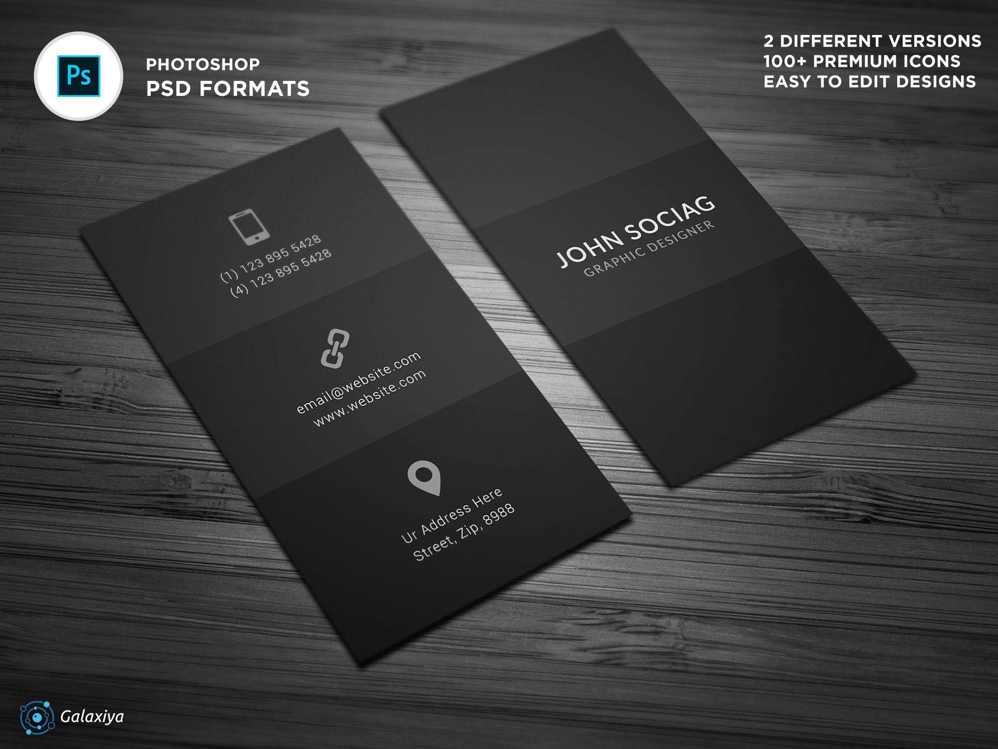 Dark Black Individual Business Cards Create Business Cards Business Cards Creative Templates Business Card Template Design