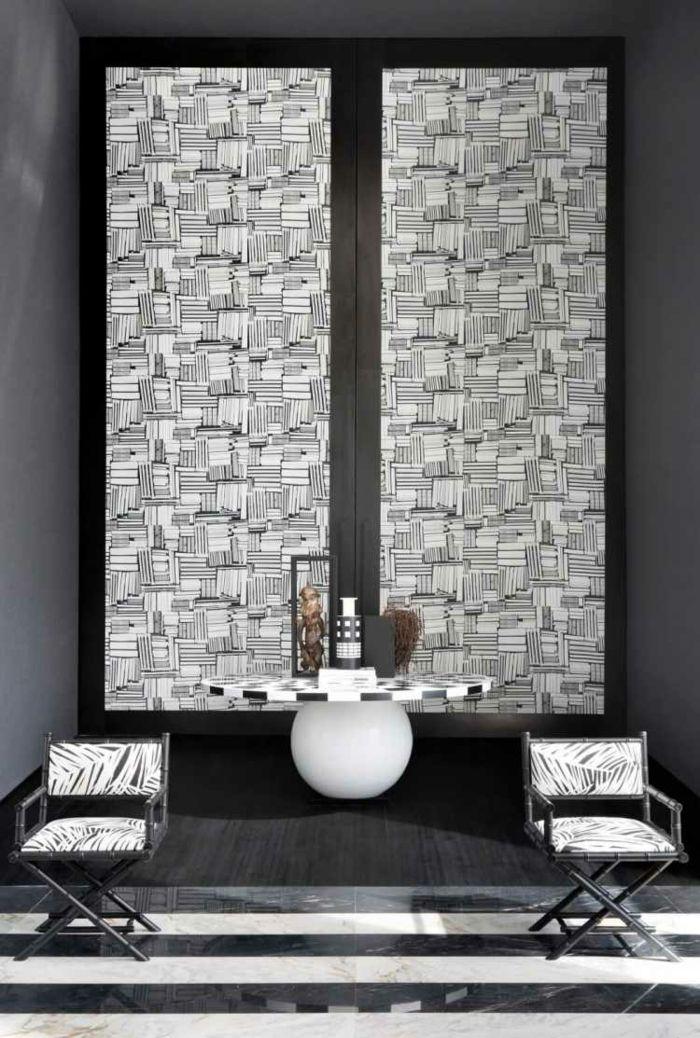 Attraktiv Muster Schwarz Weiß Wandgestaltung Mit Farbe Wandgestaltung Schwarz Weiß  Wohnzimmer Einrichten Muster