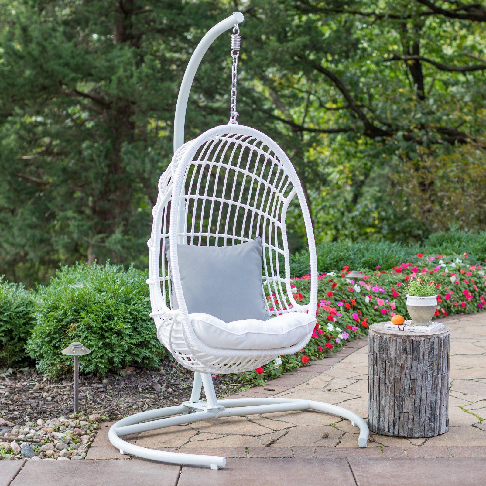 Belham living bali resin wicker hanging egg chair with