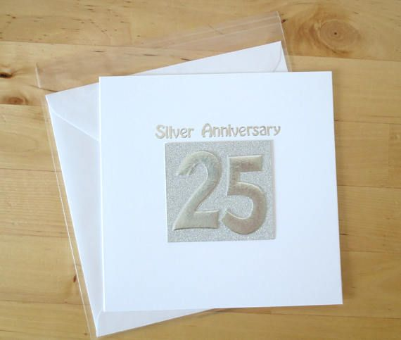 Silver Anniversary Card 25th 25 Wedding Wife Husband Parents Mum Dad