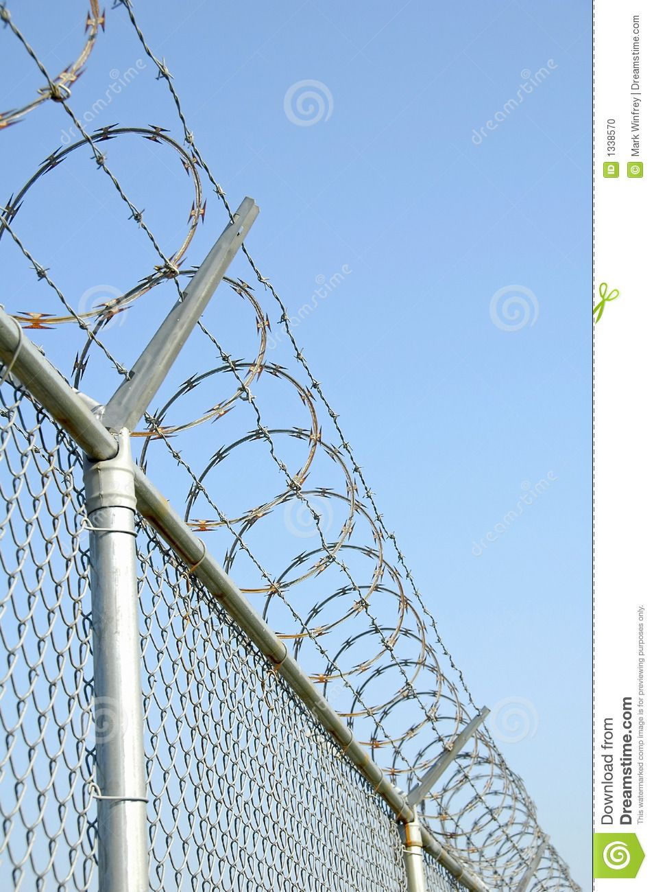 Photo About Security Fence With Razor Wire Image Of White Field Sharp 1338570 Security Fence Fence Fence Design