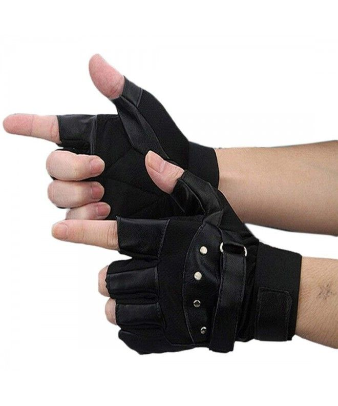 Men Soft Sheep Leather Outdoor Sport Fingerless Gloves - C812C28JKU5 #gloves