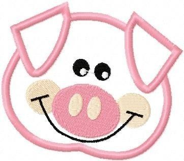 Pig Head Embroidery Machine Applique Design 10252 by ZoeysDesigns ...