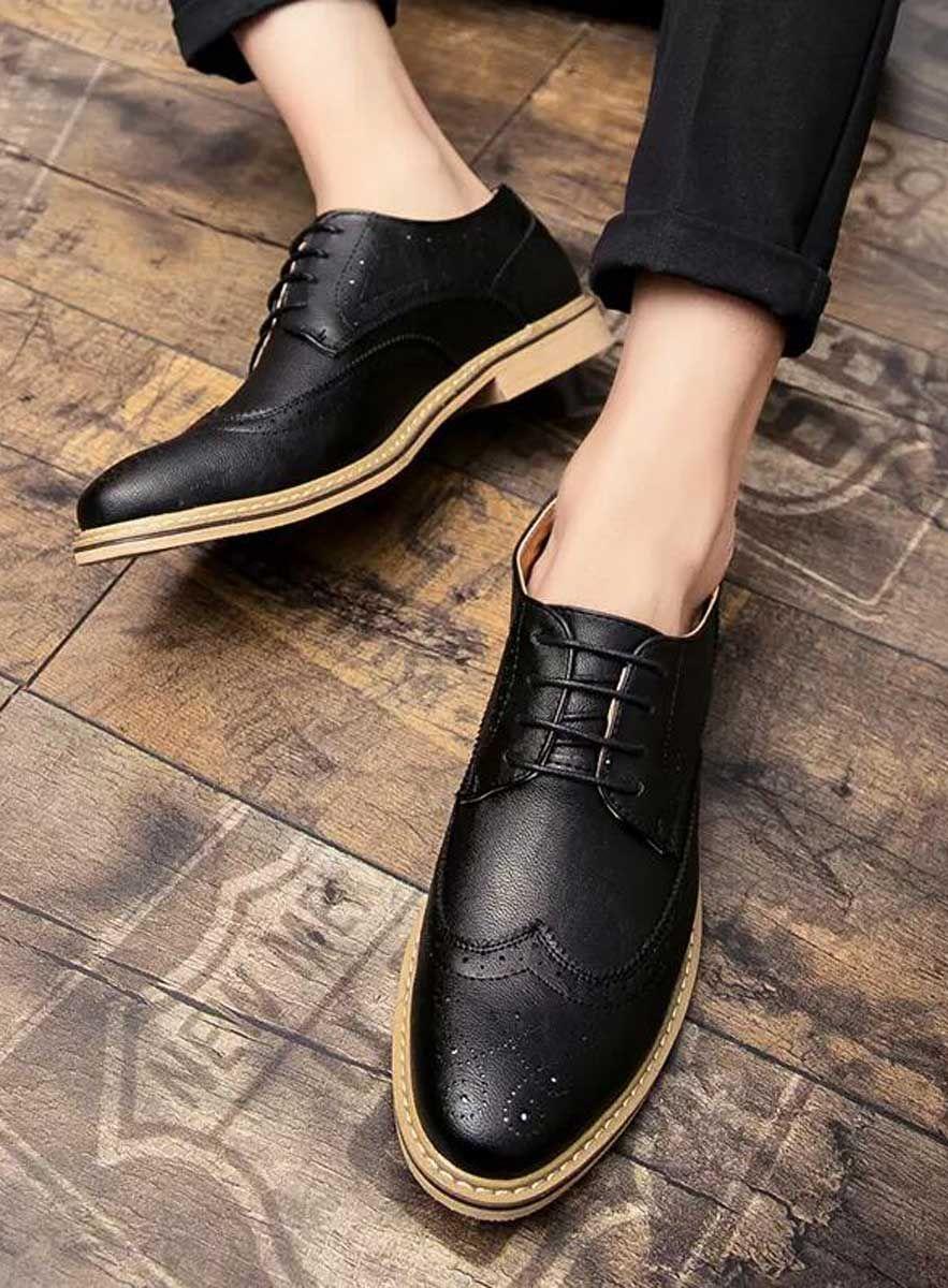 Black Retro Brogue Leather Derby Dress Shoe 1675 Dress Shoes Men Dress Shoes Mens Boots Fashion [ 1200 x 883 Pixel ]