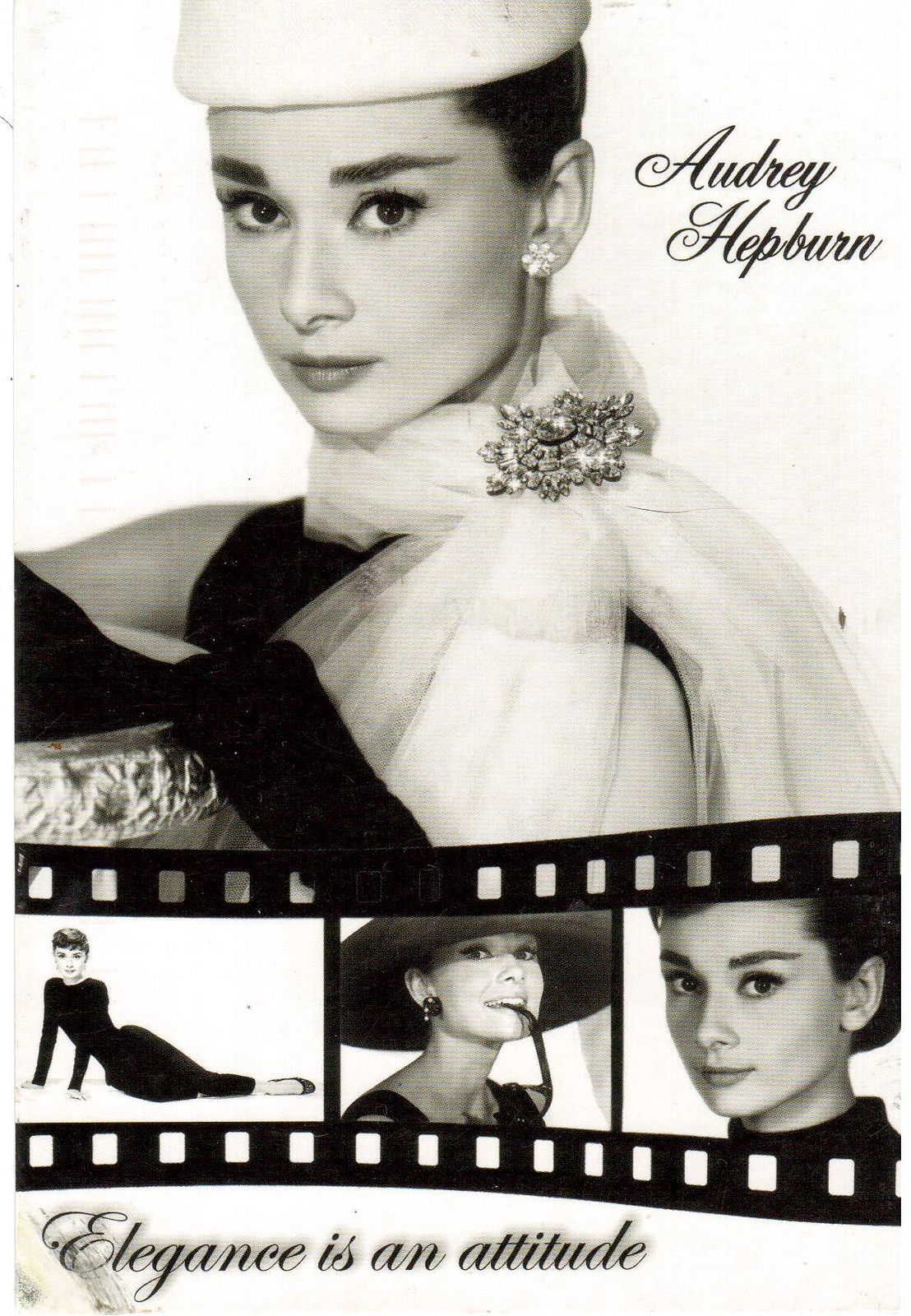 Postcrossing RU-3010047 - Black and white multiview postcard of movie star Audrey Hepburn.  Sent by Postcrosser in Russia.
