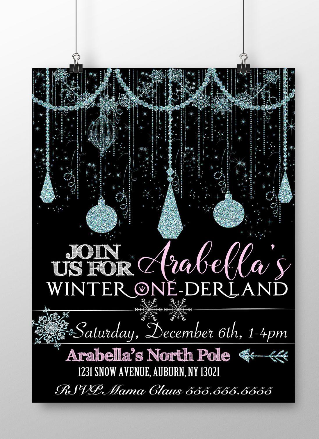 Classy Winter Wonderland Invite, winter onederland invitations ...